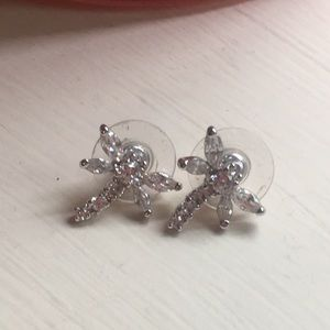 Dragonfly cubic. Zirconia post earrings